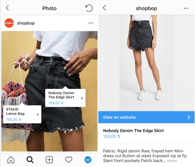Sell your products from your shop on Instagram with tags